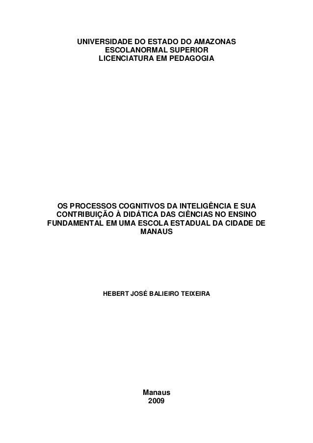 10 UNIVERSIDADE DO ESTADO DO AMAZONAS ESCOLANORMAL SUPERIOR LICENCIATURA EM PEDAGOGIA OS PROCESSOS COGNITIVOS DA INTELIGÊN...