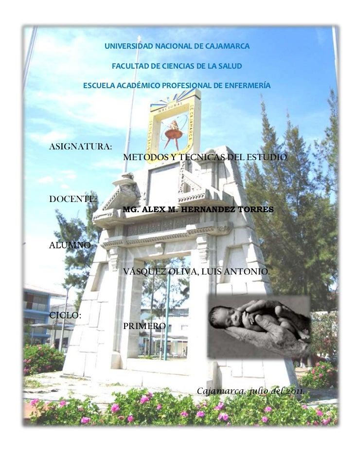 -670560-423545UNIVERSIDAD NACIONAL DE CAJAMARCA<br />FACULTAD DE CIENCIAS DE LA SALUD<br />ESCUELA ACADÉMICO PROFESIONAL D...