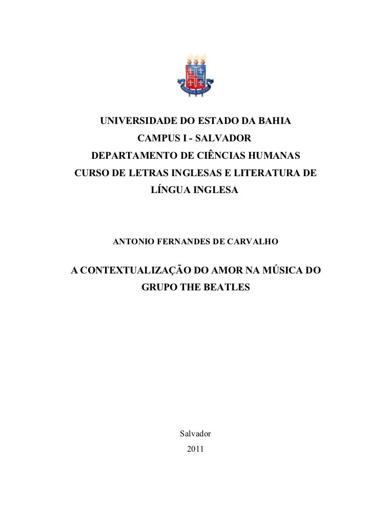 UNIVERSIDADE DO ESTADO DA BAHIA          CAMPUS I - SALVADOR   DEPARTAMENTO DE CIÊNCIAS HUMANASCURSO DE LETRAS INGLESAS E ...
