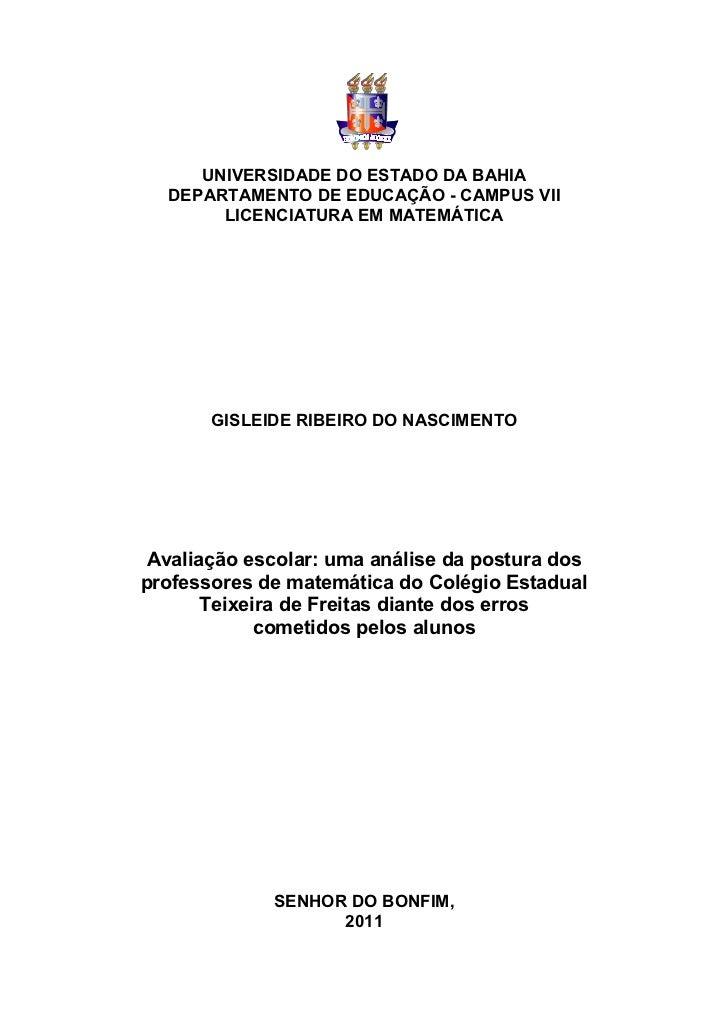 UNIVERSIDADE DO ESTADO DA BAHIA  DEPARTAMENTO DE EDUCAÇÃO - CAMPUS VII       LICENCIATURA EM MATEMÁTICA       GISLEIDE RIB...