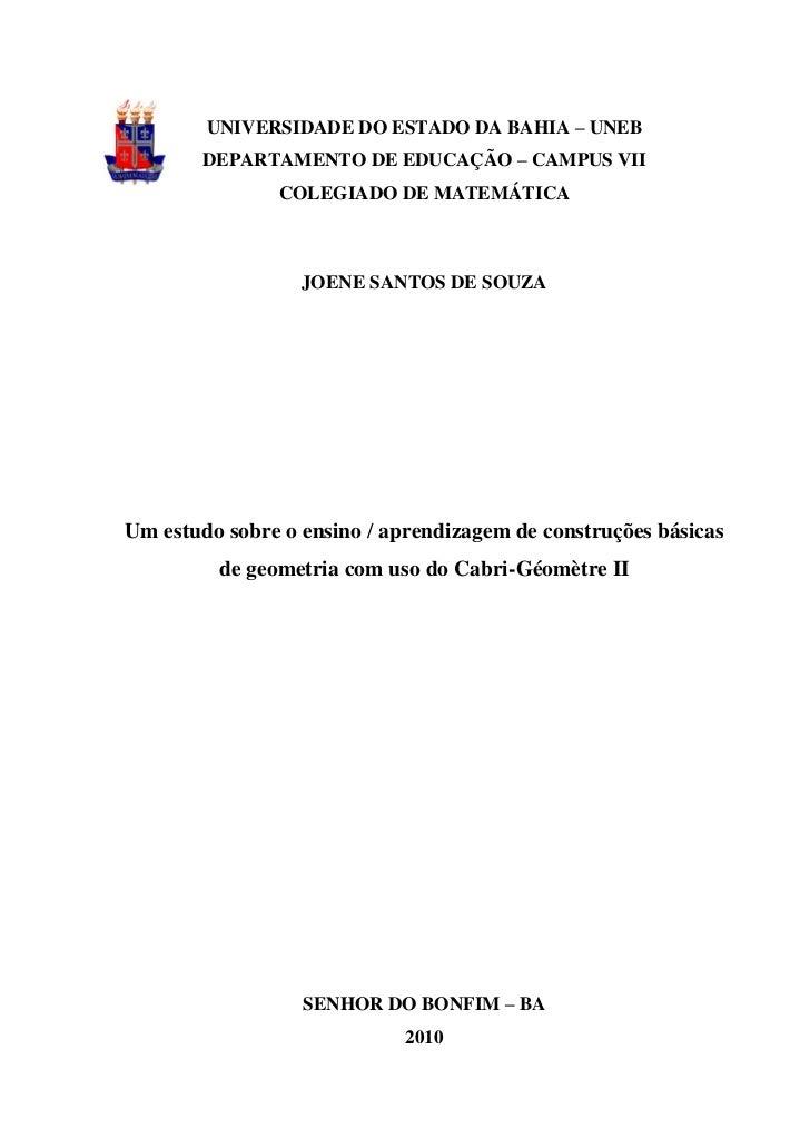 UNIVERSIDADE DO ESTADO DA BAHIA – UNEB        DEPARTAMENTO DE EDUCAÇÃO – CAMPUS VII               COLEGIADO DE MATEMÁTICA ...