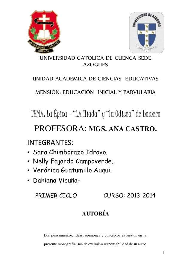 i UNIVERSIDAD CATOLICA DE CUENCA SEDE AZOGUES UNIDAD ACADEMICA DE CIENCIAS EDUCATIVAS MENSIÓN: EDUCACIÓN INICIAL Y PARVULA...