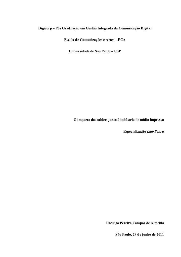 Digicorp – Pós Graduação em Gestão Integrada da Comunicação Digital               Escola de Comunicações e Artes – ECA    ...