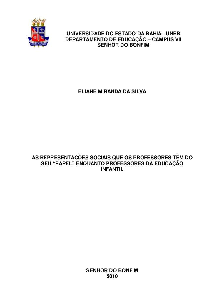 UNIVERSIDADE DO ESTADO DA BAHIA - UNEB          DEPARTAMENTO DE EDUCAÇÃO – CAMPUS VII                    SENHOR DO BONFIM ...