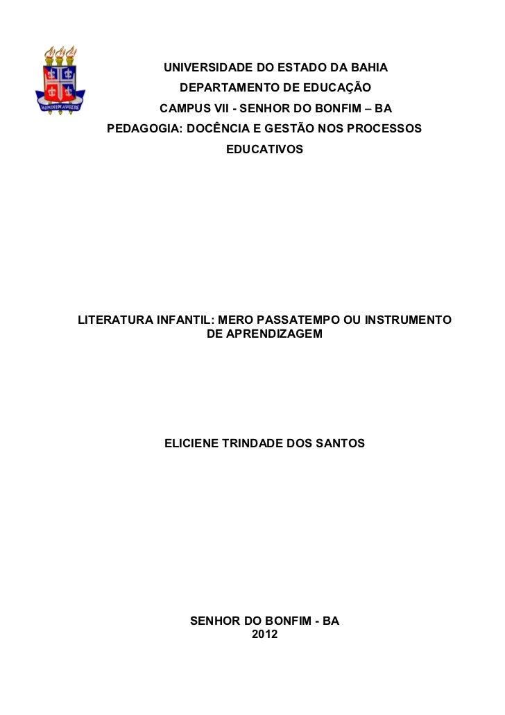 1           UNIVERSIDADE DO ESTADO DA BAHIA             DEPARTAMENTO DE EDUCAÇÃO           CAMPUS VII - SENHOR DO BONFIM –...