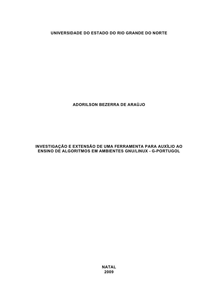 UNIVERSIDADE DO ESTADO DO RIO GRANDE DO NORTE              ADORILSON BEZERRA DE ARAÚJOINVESTIGAÇÃO E EXTENSÃO DE UMA FERRA...