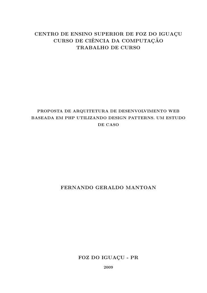 CENTRO DE ENSINO SUPERIOR DE FOZ DO IGUACU                                          ¸                  ˆ                 ¸...