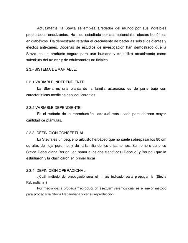 Propagación de la Stevia Rebaudina uso y conservación como