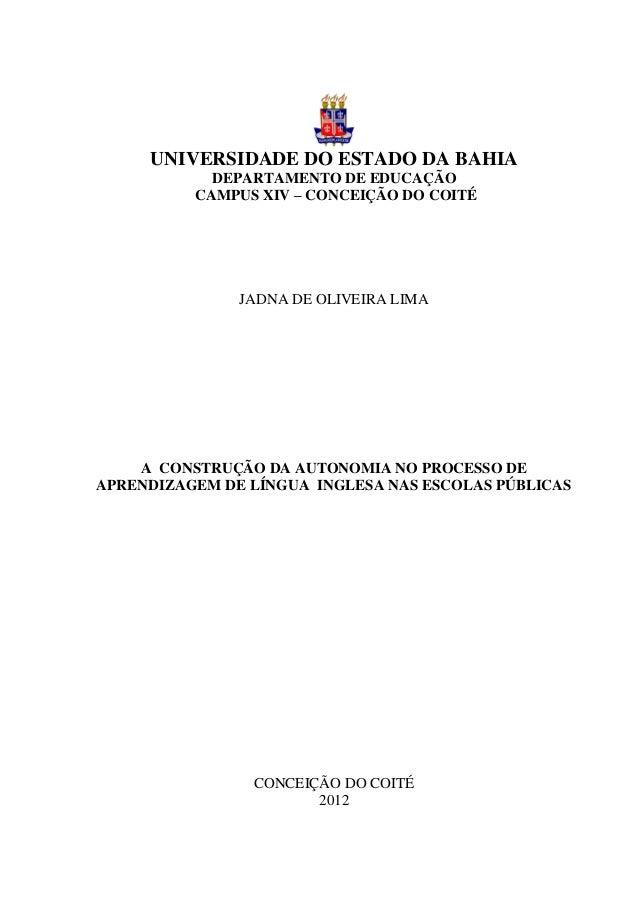 0     UNIVERSIDADE DO ESTADO DA BAHIA            DEPARTAMENTO DE EDUCAÇÃO          CAMPUS XIV – CONCEIÇÃO DO COITÉ        ...