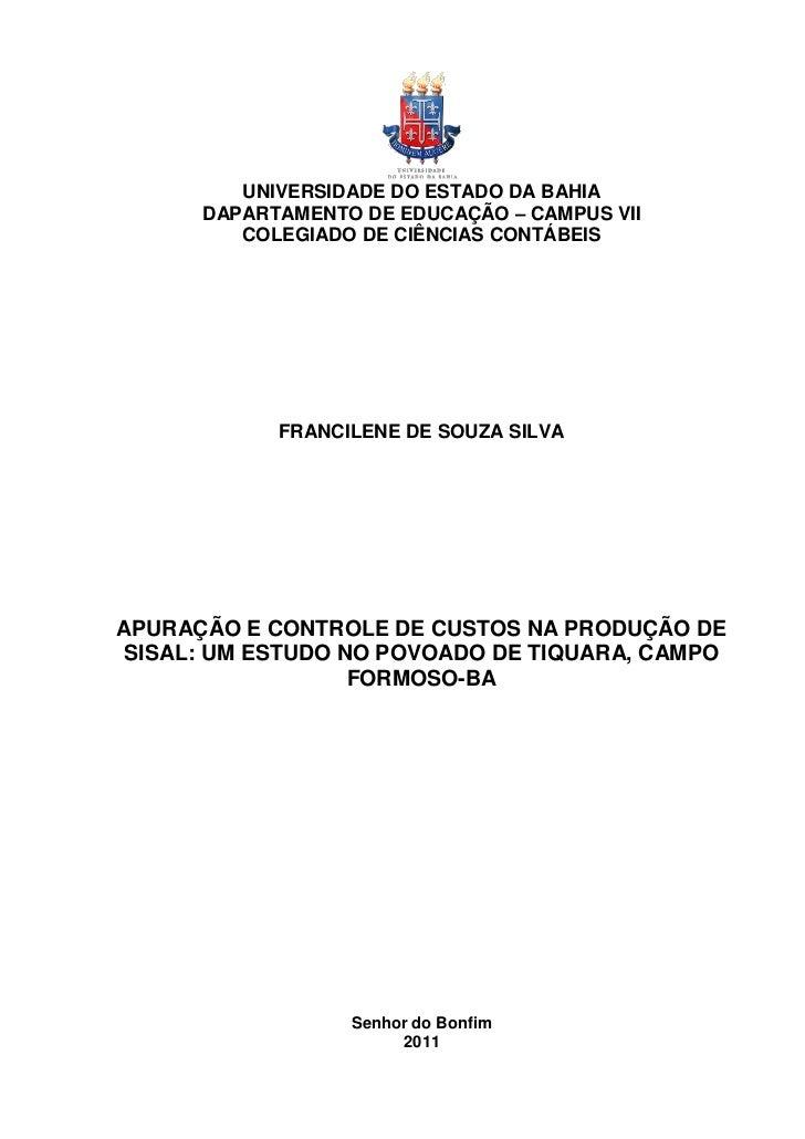 UNIVERSIDADE DO ESTADO DA BAHIA      DAPARTAMENTO DE EDUCAÇÃO – CAMPUS VII         COLEGIADO DE CIÊNCIAS CONTÁBEIS        ...