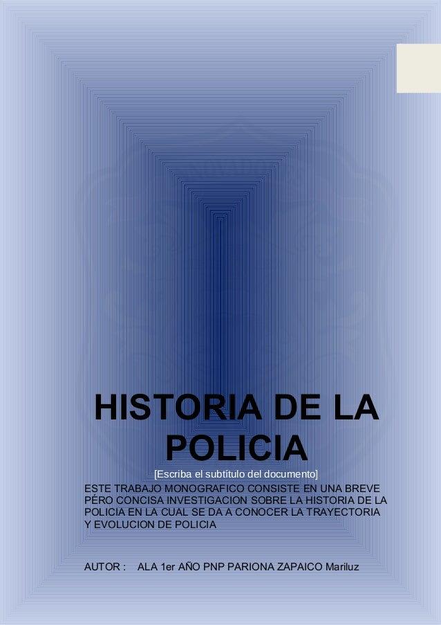 monografia historia de la policia