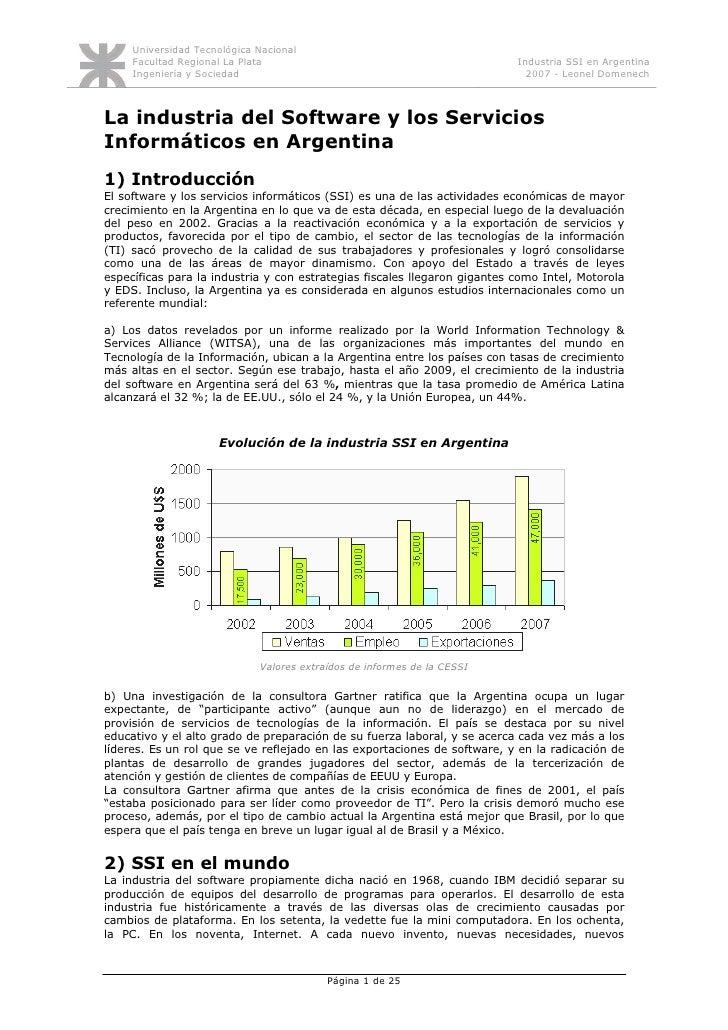 Universidad Tecnológica Nacional      Facultad Regional La Plata                                            Industria SSI ...