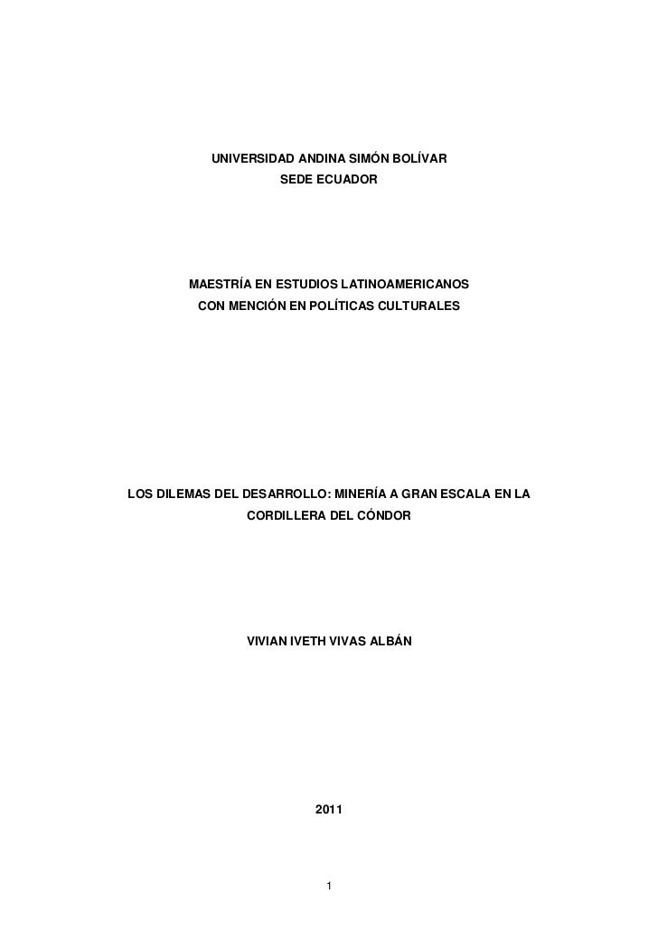 UNIVERSIDAD ANDINA SIMÓN BOLÍVAR                    SEDE ECUADOR        MAESTRÍA EN ESTUDIOS LATINOAMERICANOS         CON ...