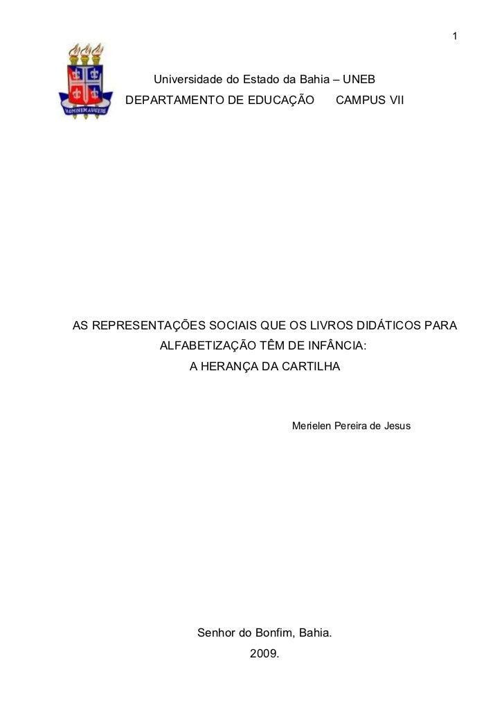 1           Universidade do Estado da Bahia – UNEB       DEPARTAMENTO DE EDUCAÇÃO              CAMPUS VIIAS REPRESENTAÇÕES...