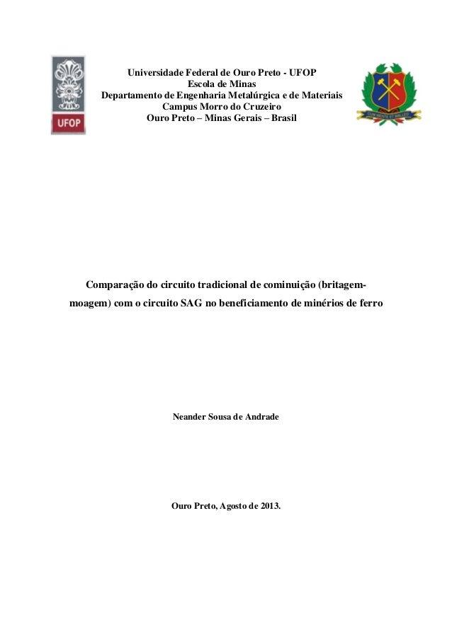 Universidade Federal de Ouro Preto - UFOP Escola de Minas Departamento de Engenharia Metalúrgica e de Materiais Campus Mor...