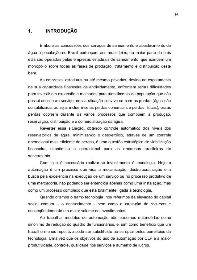 141.        INTRODUÇÃO       Embora as concessões dos serviços de saneamento e abastecimento deágua à população no Brasil ...