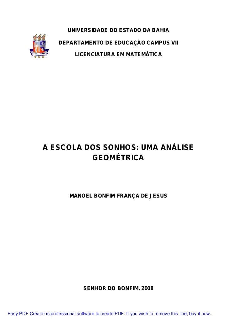 UNIVERSIDADE DO ESTADO DA BAHIA                         DEPARTAMENTO DE EDUCAÇÃO CAMPUS VII                               ...