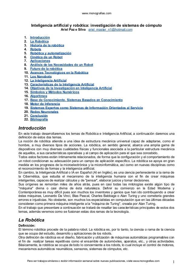 www.monografias.com  Inteligencia artificial y robótica: investigación de sistemas de cómputo  Ariel Paz e Silva ariel_mas...