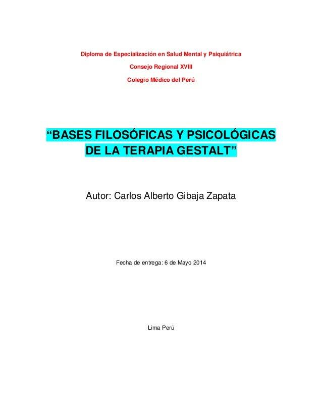 """Diploma de Especialización en Salud Mental y Psiquiátrica Consejo Regional XVIII Colegio Médico del Perú """"BASES FILOSÓFICA..."""