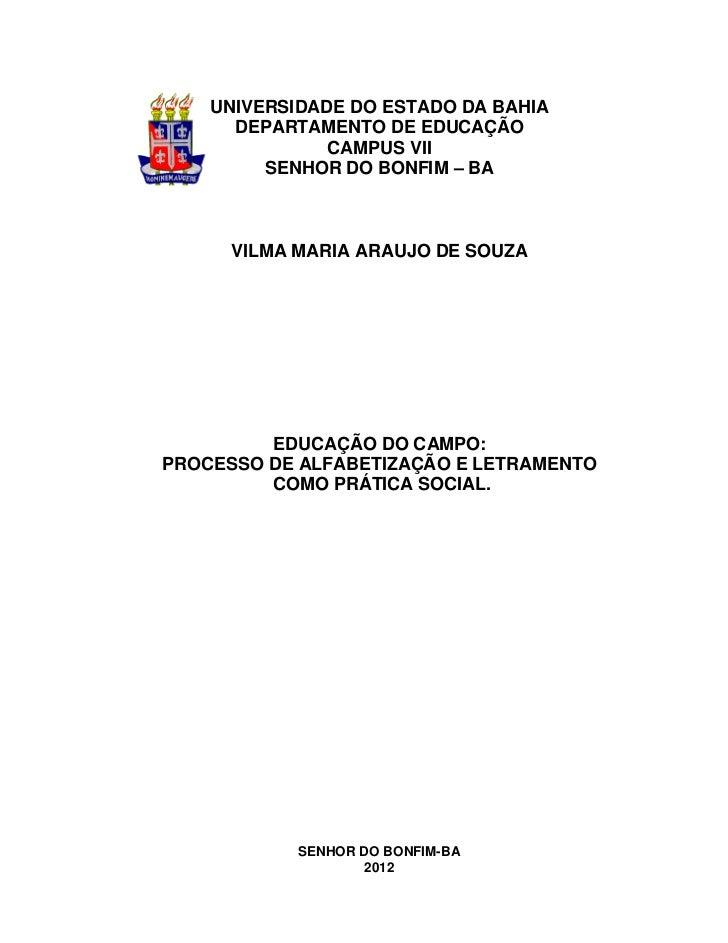 1    UNIVERSIDADE DO ESTADO DA BAHIA      DEPARTAMENTO DE EDUCAÇÃO               CAMPUS VII         SENHOR DO BONFIM – BA ...