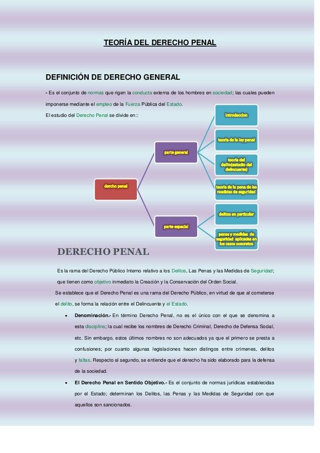 TEORÍA DEL DERECHO PENAL  DEFINICIÓN DE DERECHO GENERAL - Es el conjunto de normas que rigen la conducta externa de los ho...