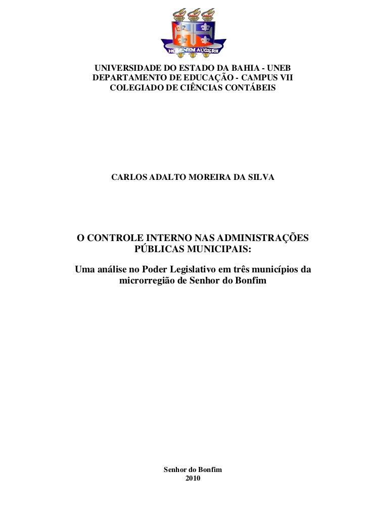 UNIVERSIDADE DO ESTADO DA BAHIA - UNEB    DEPARTAMENTO DE EDUCAÇÃO - CAMPUS VII       COLEGIADO DE CIÊNCIAS CONTÁBEIS     ...