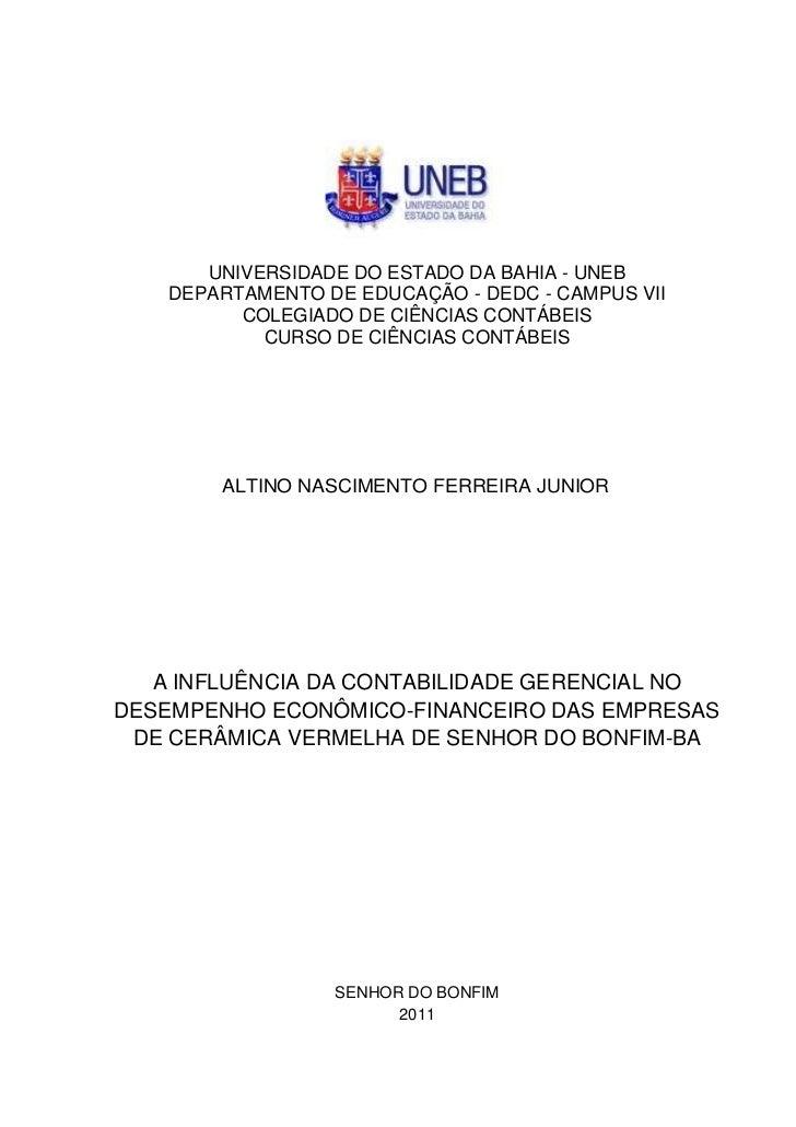 UNIVERSIDADE DO ESTADO DA BAHIA - UNEB    DEPARTAMENTO DE EDUCAÇÃO - DEDC - CAMPUS VII          COLEGIADO DE CIÊNCIAS CONT...