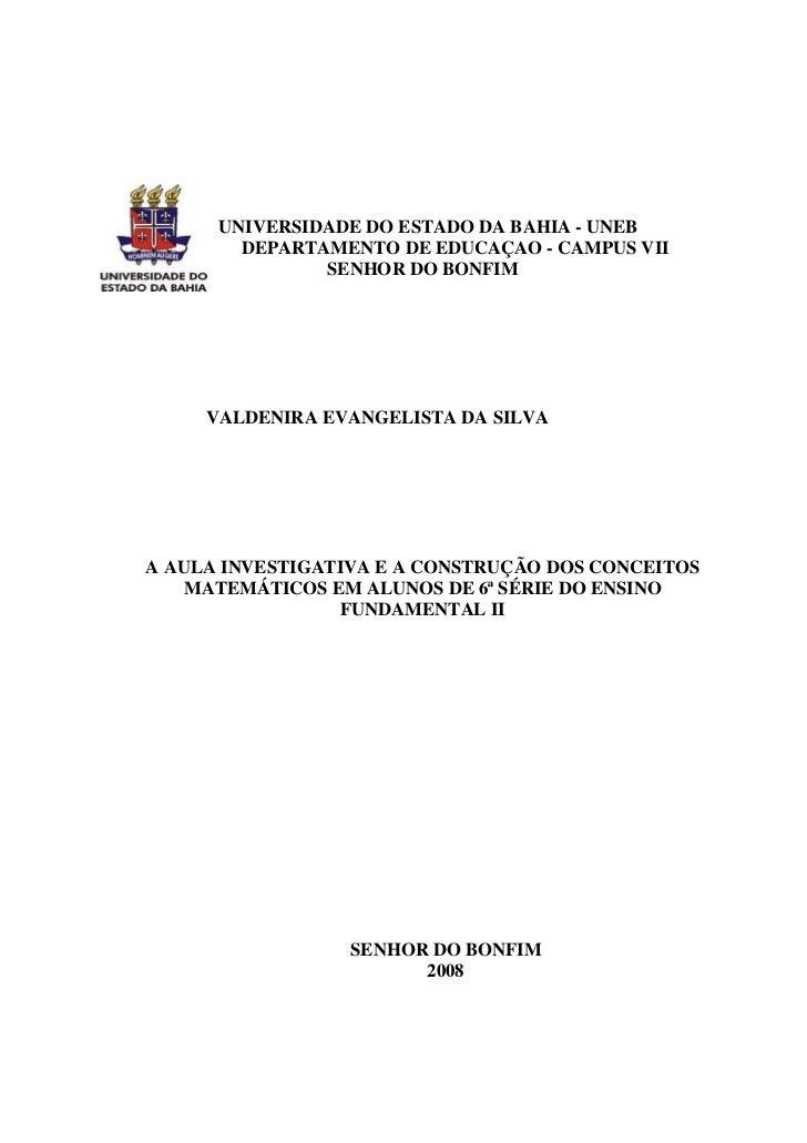 UNIVERSIDADE DO ESTADO DA BAHIA - UNEB        DEPARTAMENTO DE EDUCAÇAO - CAMPUS VII               SENHOR DO BONFIM     VAL...