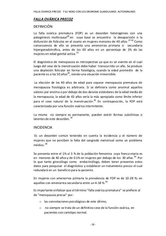 FALLA OVARICA PRECOZ Y SU NEXO CON LOS SINDROME GLANDULARES AUTOIMNUNESFALLA OVÁRICA PRECOZDEFINICIÓNLa falla ovárica prem...