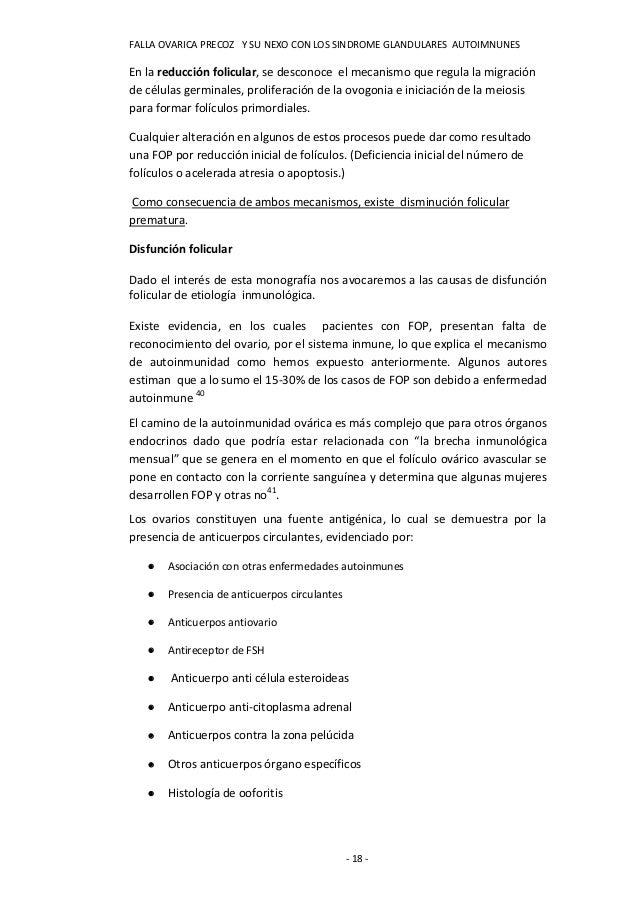 FALLA OVARICA PRECOZ Y SU NEXO CON LOS SINDROME GLANDULARES AUTOIMNUNESEn la reducción folicular, se desconoce el mecanism...