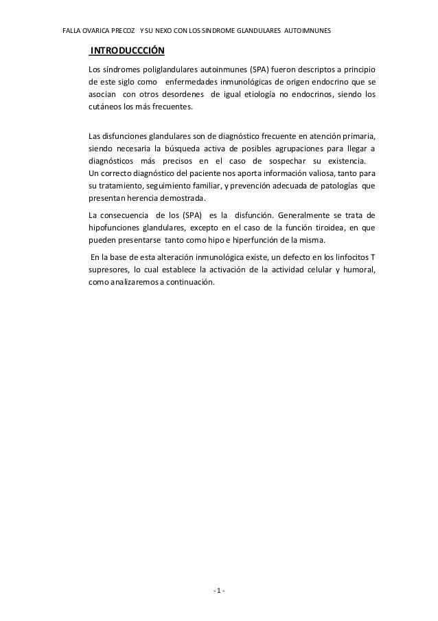 FALLA OVARICA PRECOZ Y SU NEXO CON LOS SINDROME GLANDULARES AUTOIMNUNES       INTRODUCCCIÓN      Los síndromes poliglandul...