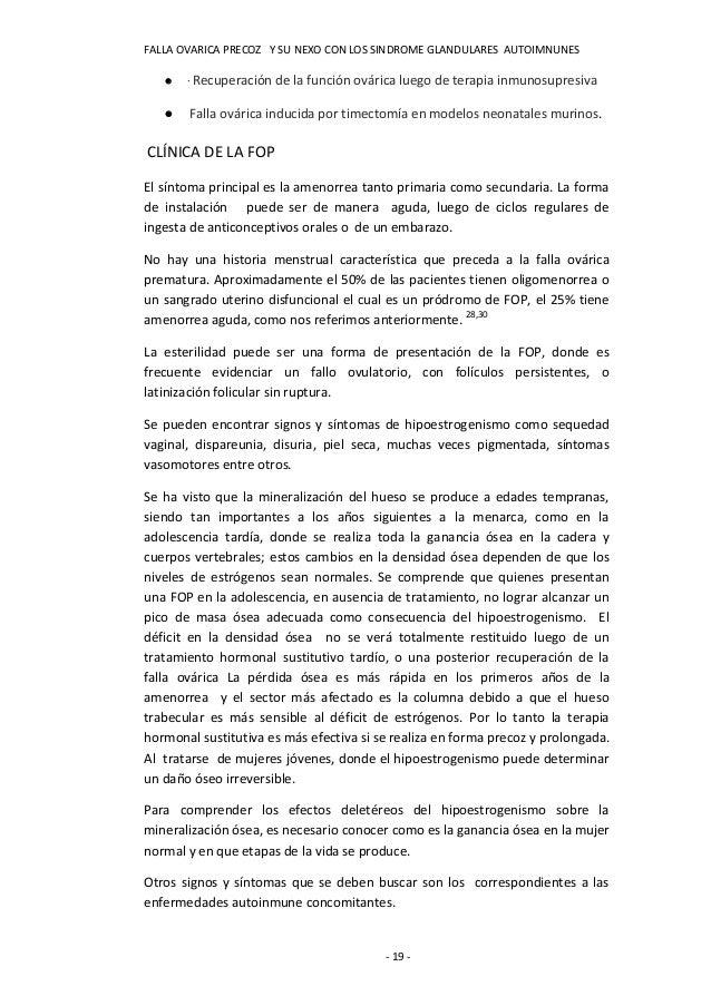 FALLA OVARICA PRECOZ Y SU NEXO CON LOS SINDROME GLANDULARES AUTOIMNUNES      · Recuperación   de la función ovárica luego...
