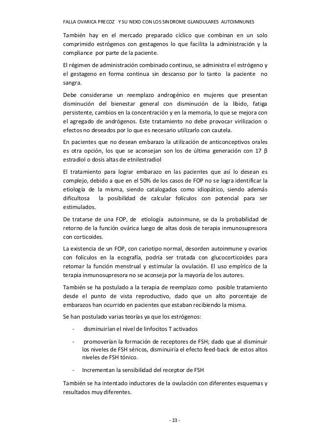 FALLA OVARICA PRECOZ Y SU NEXO CON LOS SINDROME GLANDULARES AUTOIMNUNESTambién hay en el mercado preparado cíclico que com...