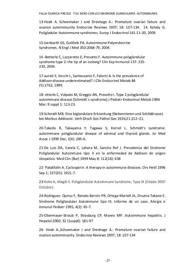 FALLA OVARICA PRECOZ Y SU NEXO CON LOS SINDROME GLANDULARES AUTOIMNUNES13-Hoek A. Schoemaker J and Drexhage A.: Premature ...