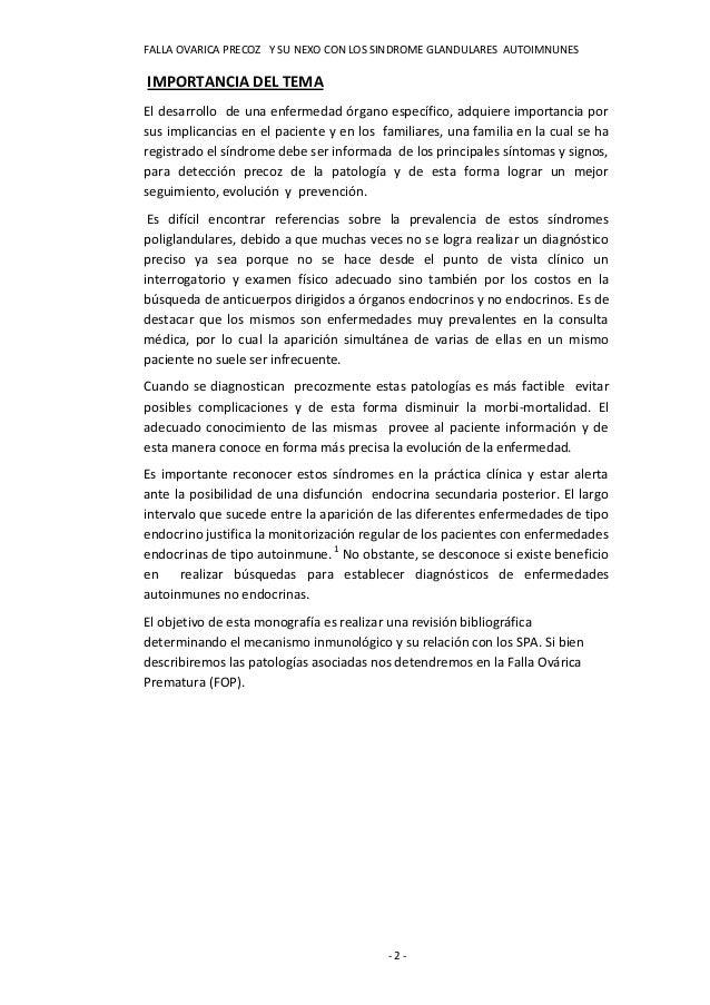 FALLA OVARICA PRECOZ Y SU NEXO CON LOS SINDROME GLANDULARES AUTOIMNUNESIMPORTANCIA DEL TEMAEl desarrollo de una enfermedad...