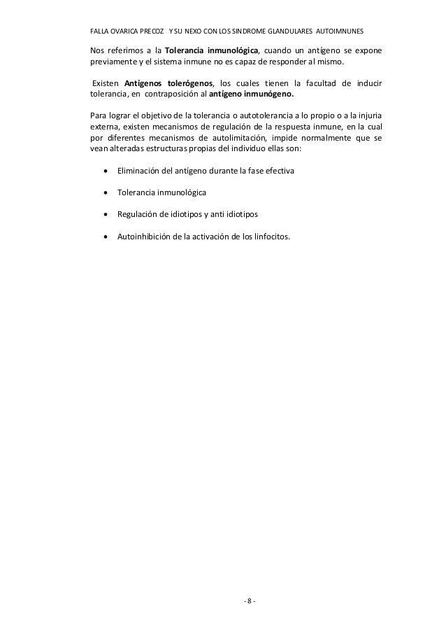 FALLA OVARICA PRECOZ Y SU NEXO CON LOS SINDROME GLANDULARES AUTOIMNUNESNos referimos a la Tolerancia inmunológica, cuando ...