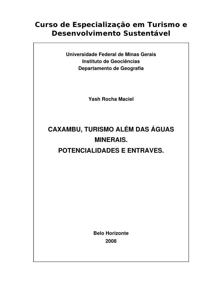 Curso de Especialização em Turismo e     Desenvolvimento Sustentável         Universidade Federal de Minas Gerais         ...