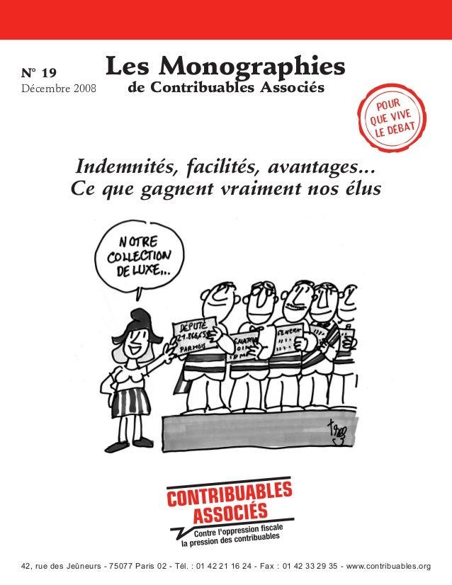 N°19 Décembre2008  Les Monographies de Contribuables Associés  Pour ive que v t a le déb  Indemnités, facilités, avantag...