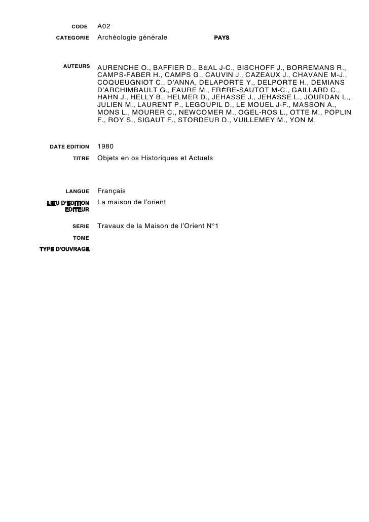 CODE     A02     CATEGORIE     Archéologie générale                  PAYS       AUTEURS     AURENCHE O., BAFFIER D., BÉAL ...
