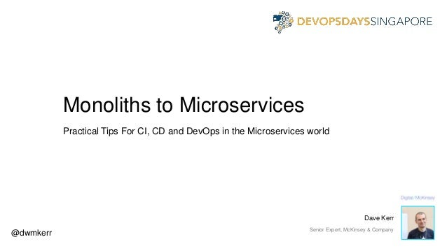 Monoliths to Microservices Practical Tips For CI, CD and DevOps in the Microservices world @dwmkerr Dave Kerr Senior Exper...