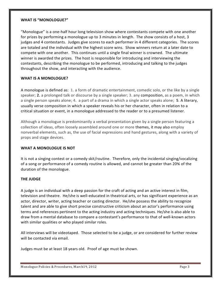 Monologue policies & procedures
