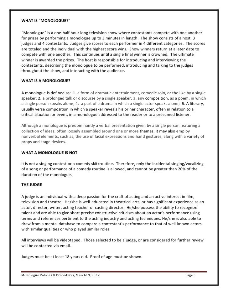 Monologue policies procedures ccuart Image collections