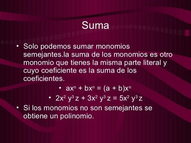 Monomios y polinomios presentacion Slide 3