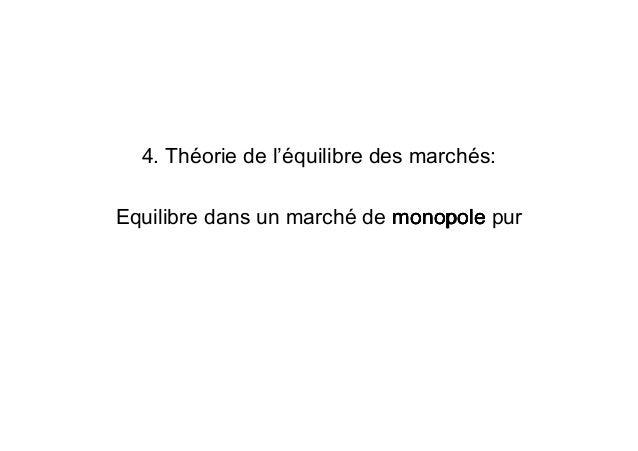 4. Théorie de l'équilibre des marchés: Equilibre dans un marché de monopolemonopolemonopolemonopole pur