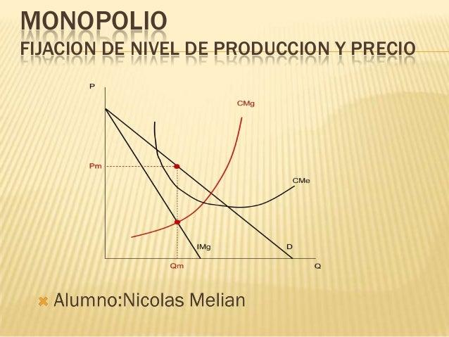 MONOPOLIO FIJACION DE NIVEL DE PRODUCCION Y PRECIO