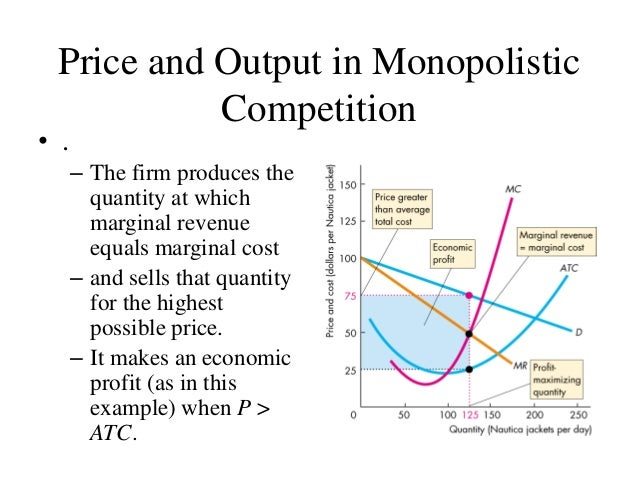 monopolistic competition Chapter 6: monopolistic competition learning objective the purpose of this topic is to look at a very common form of market where firms are numerous but have some monopoly power.