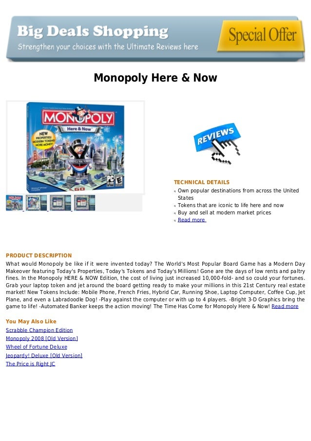 Monopoly Here & NowTECHNICAL DETAILSOwn popular destinations from across the UnitedqStatesTokens that are iconic to life h...