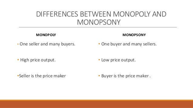Difference Between Monopoly and Monopsony
