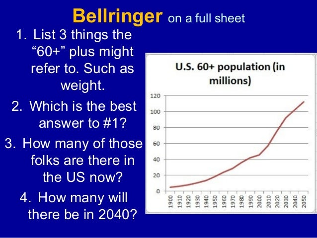 "Bellringer on a full sheet 1. List 3 things the ""60+"" plus might refer to. Such as weight. 2. Which is the best answer to ..."