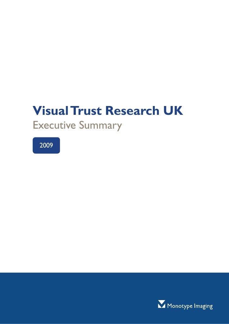 Visual Trust Research UK Executive Summary  2009